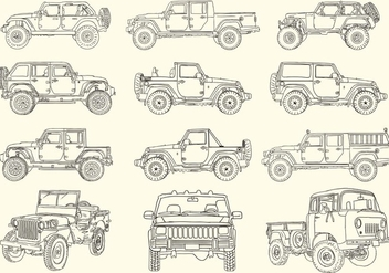 Hand Drawn Jeep Collection - Kostenloses vector #409633
