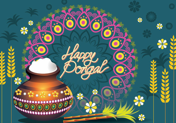 Vector Illustration of Happy Pongal Greeting Card - Free vector #409643