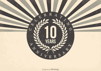 Retro 10th Anniversary Illustration - Kostenloses vector #409933