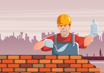 Masonry Builds Brick Wall - Free vector #410153