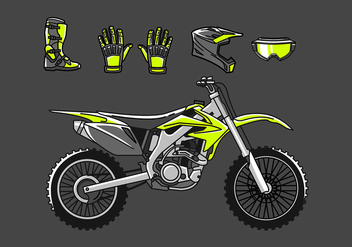 Dirt Bike Set Free Vector - бесплатный vector #411083