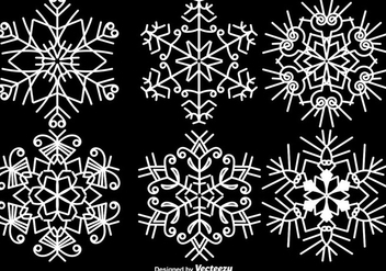 Elegant White Snowflakes Vector Set - Free vector #411203