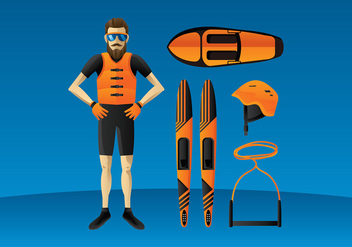 Water Skiing Equipment Free Vector - бесплатный vector #412323