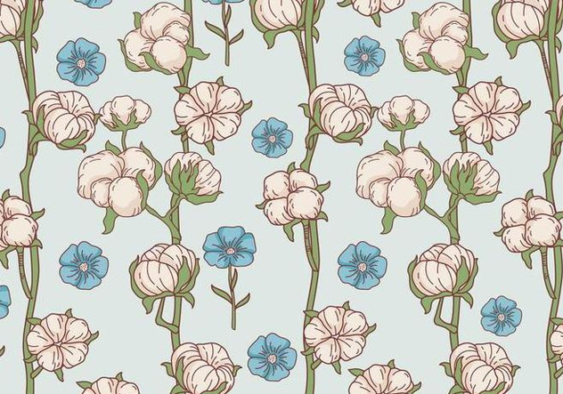 Cotton Flower Pattern Vector - Free vector #412883