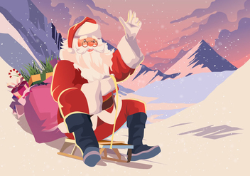 Santa Riding A Toboggan - vector gratuit #412973