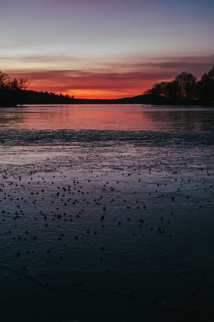 Rugged ice and red sunset - Free image #413103