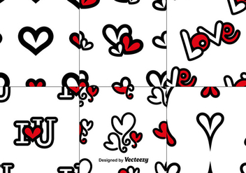Vector Set Of Love Seamless Patterns - Free vector #413253