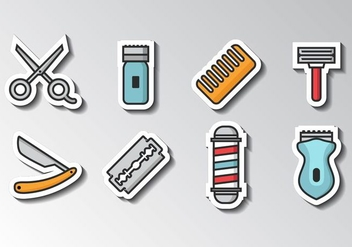 Free Barber Icons Sticker Style Vector - Kostenloses vector #413483
