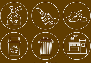 Garbage Line Icons Vector - бесплатный vector #413763