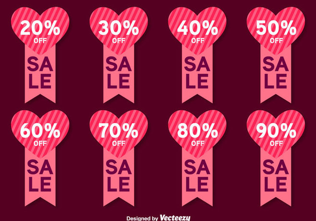 Valentines Day Sale Vector Labels - Free vector #413813