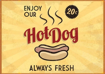 Retro Glowing Hot Dog Sign Vector - Kostenloses vector #413983