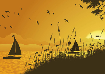 Sea Oats Sunset Free Vector - vector gratuit #414113