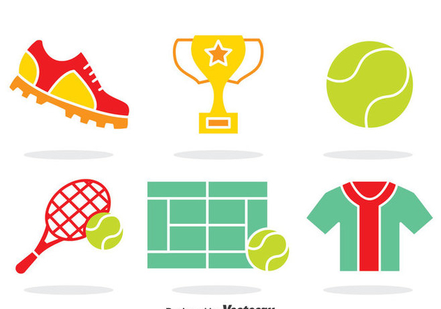 Tennis Element Icons Vector - Free vector #414413
