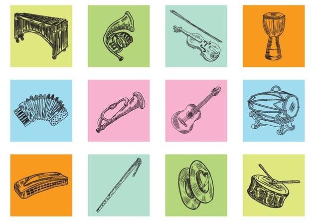 Hand Drawn Music Instrument - vector #414993 gratis