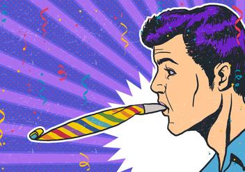 Man Party Blower Vector - бесплатный vector #415163