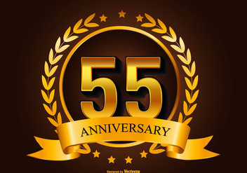 Golden 55th Anniversary Illustration - Free vector #415453