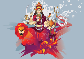 Vector Illustration of Goddess Durga in Subho Bijoya - Free vector #415603