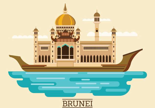 Vector Illustration of Sultan Omar Ali Saifuddien Mosque in Brunei - Free vector #416013