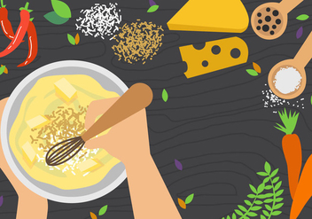 Mixing Bowl And The Cooking Workspace - vector gratuit #416163