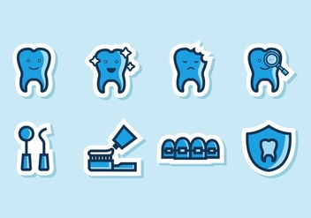 Free Funny Dental Icons Vector - vector gratuit #416303