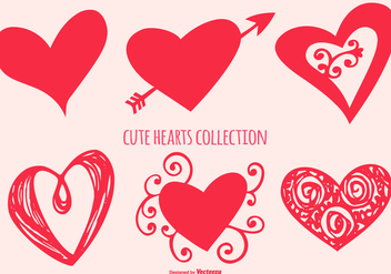 Cute Heart Shapes Collection - vector gratuit #416323