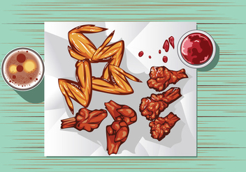 Buffalo Wings with Sauce and Beer on the Table - Free vector #416353