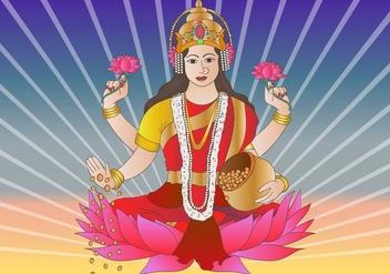Hindu Goddess Lakshmi Bhagwati - Free vector #416503