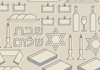 Shabbat Symbols Set - Kostenloses vector #417643