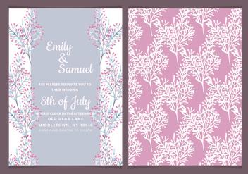 Vector Delicate Branches Wedding Invitation - Free vector #417873