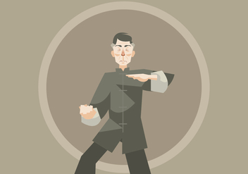 Wushu Master Practicing Vector - Free vector #418353