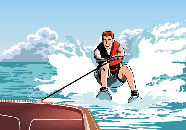 Man Riding On Water Skiing - Free vector #418943