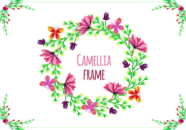 Free Vector Frame with Camellias - Free vector #419263