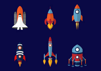 Six Spaceship Design - vector #419303 gratis