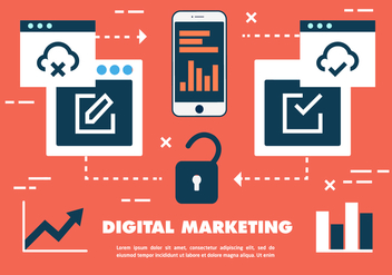 Free Flat Digital Marketing Concept Vector - Kostenloses vector #419353