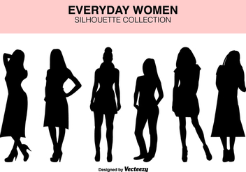 Vector Set Of Women Silhouettes - vector gratuit #419903