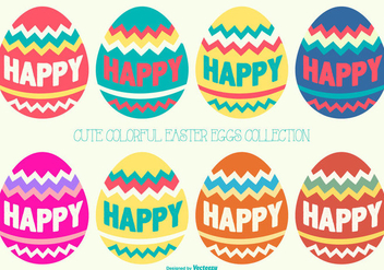 Cute Easter Eggs Collection - Free vector #420113