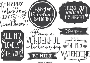 Cute Hand Drawn Style Valentine's Day Labels - Free vector #420553