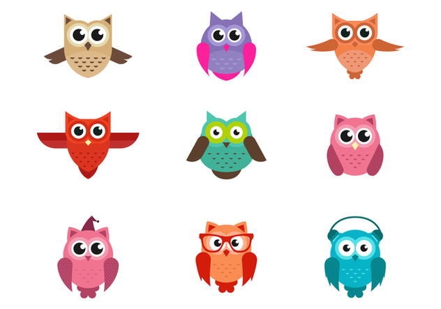 Set of Cute Owls Vector - Free vector #420713
