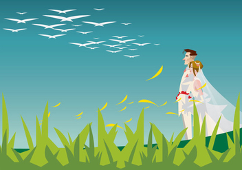 Bride and Groom Walking in the Garden Illustration - Free vector #420773