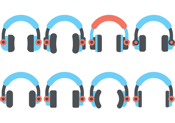 Headphone Flat Icon Vector - vector gratuit #420813