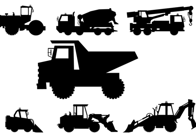 Silhouettes of Heavy Vehicle Vectors - бесплатный vector #421013