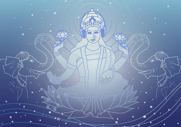 Lakshmi Goddess Of Wealth Vector - бесплатный vector #421133