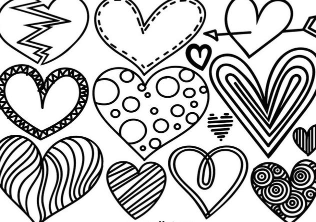 Vector Set Of Doodle Hearts - Kostenloses vector #421453