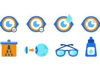Set Of Blue Eye Doctor Icons - Free vector #421753