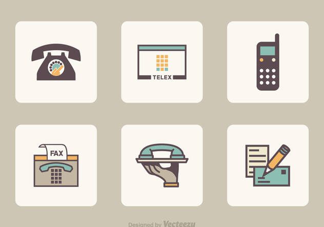Flat Retro Communication Vector Icons - Free vector #421783