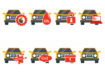 Yellow Car Auto Body Icon Vectors - Free vector #421793