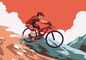 Red Sunset Bike Trail Vector - Free vector #421803