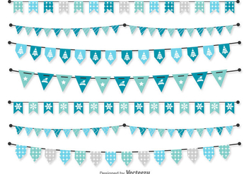 Christmas Blue Vector Pennants - бесплатный vector #422293