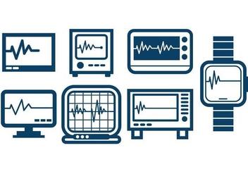 Heart Monitor Outline Icon Set Vector - Kostenloses vector #422333