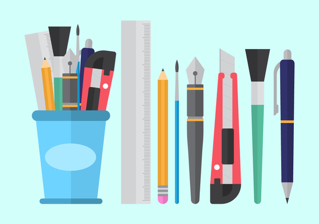 Free Pen Holder and Stationary Vectors - Free vector #422503